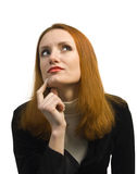 Thoughtful doubting business woman Stock Photos