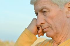 Thoughtful elder man Royalty Free Stock Photo