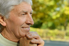 Thoughtful elderly man Stock Photo