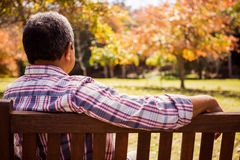Thoughtful elderly man sitting alone on a bench Stock Photo