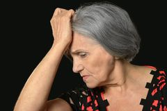 Thoughtful elderly woman Royalty Free Stock Photography