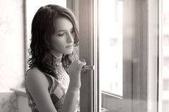 Thoughtful Elegant girl Stock Photography