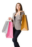 Thoughtful elegant young shopper. Royalty Free Stock Photo