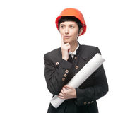Thoughtful engineer woman holding sign Stock Photos
