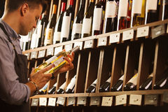 Thoughtful expert in winemaking on background of shelves with wine. Royalty Free Stock Photos