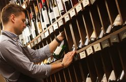 Thoughtful expert in winemaking on background of shelves with wine. Young sommelier holding bottle of wine in cellar, reading information on sticker about stock photography