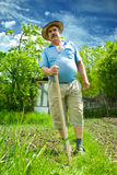 Thoughtful while farming Stock Photography