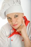 Thoughtful female chef Royalty Free Stock Photography