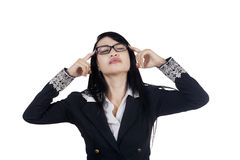 Thoughtful female manager seek idea Stock Images