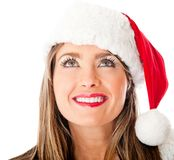 Thoughtful female Santa Stock Photography