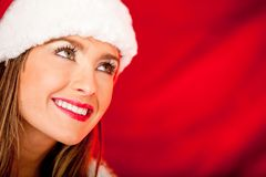 Thoughtful female Santa Royalty Free Stock Image