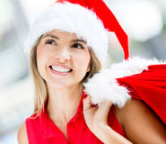 Thoughtful female Santa Royalty Free Stock Images