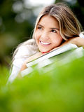 Thoughtful female student Stock Photography