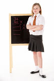 Thoughtful Female Student Wearing Uniform Next To Royalty Free Stock Photos
