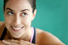 Thoughtful female swimmer Royalty Free Stock Photo