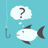 Thoughtful fish and fishhook. Thoughtful uncertain hesitant fish with black fins looking questioningly at empty fishhook without bait. EPS 8 vector illustration Royalty Free Stock Images