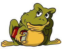 Thoughtful Frog With Book Royalty Free Stock Image