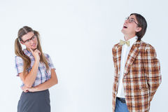 Thoughtful geeky hipsters Stock Images