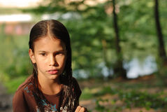 Thoughtful girl. Portrait with beautiful thoughtful girl Stock Photo
