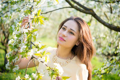 Thoughtful girl holding a blossoming branch Royalty Free Stock Photos