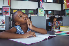 Free Thoughtful Girl Looking Up At Desk In Library Royalty Free Stock Photos - 96120518