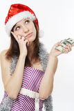 Thoughtful girl with money Stock Photos