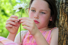 Thoughtful Girl Outdoors Royalty Free Stock Photos