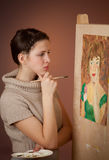 Thoughtful girl standing near her  picture Royalty Free Stock Photography