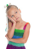 Thoughtful girl in a summer dress Royalty Free Stock Images