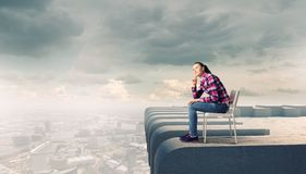 Thoughtful girl Stock Images