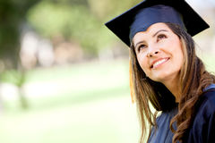 Thoughtful graduation student Stock Image