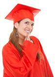 Thoughtful graduation woman Stock Photo