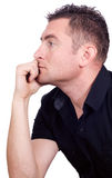 Thoughtful guy isolated on white background Stock Images