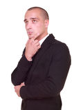 Thoughtful handsome business man stock photo