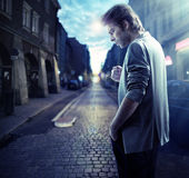 Thoughtful handsome man in downtown Royalty Free Stock Images
