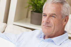 Thoughtful Handsome Senior Man at Home Royalty Free Stock Photo