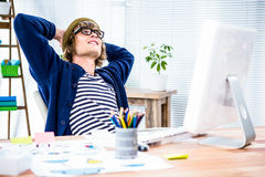 Thoughtful hipster businessman takes a break Stock Images