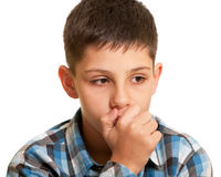 Thoughtful kid in casual Royalty Free Stock Images