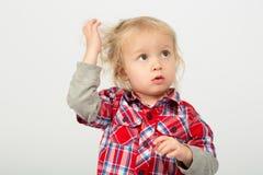 Thoughtful little boy stock photos