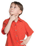 Thoughtful little boy in a red shirt Stock Photos
