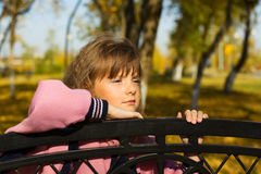 Thoughtful little girl. Royalty Free Stock Images