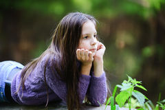 Thoughtful little girl. Royalty Free Stock Photography