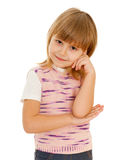 Thoughtful little girl in pink Stock Image
