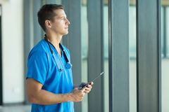 Thoughtful male doctor Royalty Free Stock Image