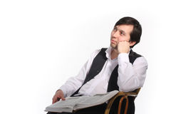 Thoughtful man. Pensive man with opened book Royalty Free Stock Photos