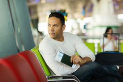 Thoughtful man airport Royalty Free Stock Photos