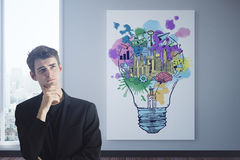 Thoughtful man with business sketch. Thoughtful young businessman in interior with business sketch and city view. Success concept. 3D Rendering Royalty Free Stock Images