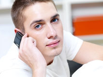 Thoughtful man call in the phone Royalty Free Stock Photo