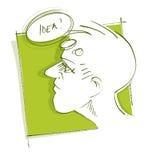 Thoughtful man (head icon) - got an idea Stock Image