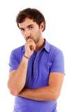 Thoughtful man isolated on white Stock Photo